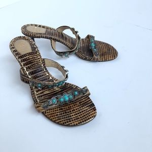 J Vincent Womens Size 6 Heel Sandal Turquoise